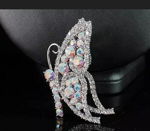 BUTTERFLY CLEAR AUSTRIAN RHINESTONE CRYSTAL BROOCH PIN FASHION