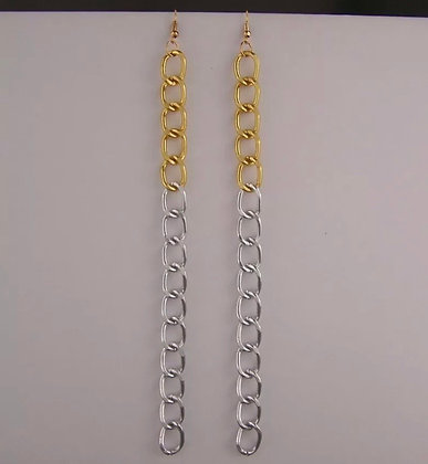 """Silver Gold earrings 2-tone super extra 7"""" long chain link dangle lightweight"""