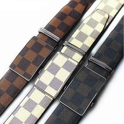Women Men Belt Fashion Soft Leather Waistband Belt Strap Automatic No Hole Slide