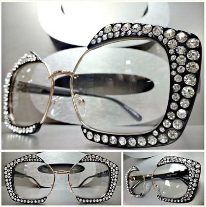 OVERSIZED EXAGGERATED Clear Lens EYE GLASSES Bling Crystals Funky Fashion Frame