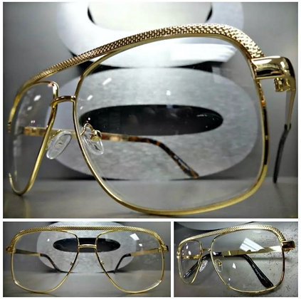 Classic Vintage Retro Style Clear Lens Gold