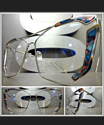 OVERSIZED VINTAGE RETRO CAT EYE Style Clear Lens EYE GLASSES Silver Floral Frame