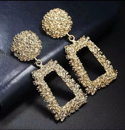 Vintage  earrings for women gold color geometric statement
