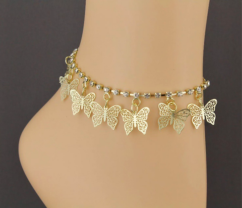 Gold Dangly Anklet Butterfly Charm