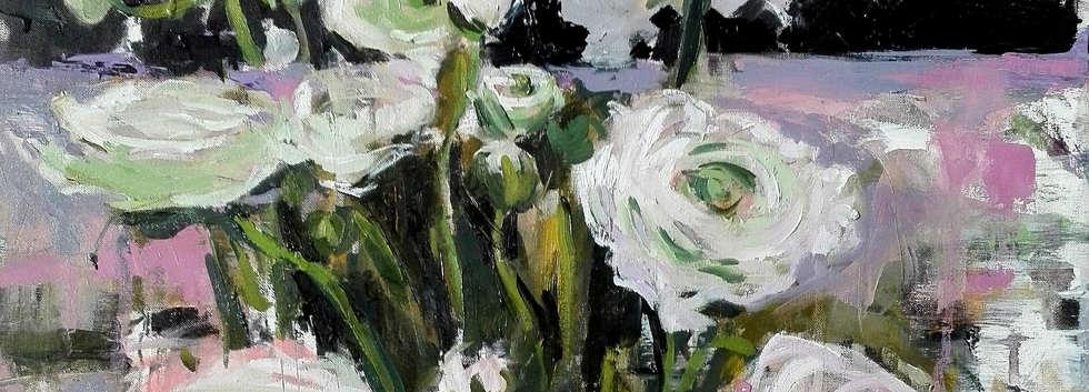Fiori bianchi su sfondo nero e lilla