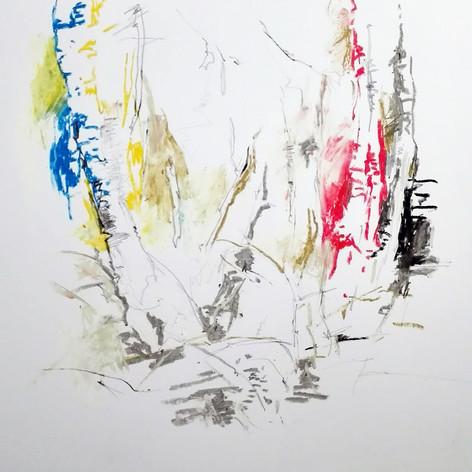 studio di betulle pastelli ad olio e grafite