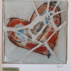 Wild babies fused glass heart with mosaic framed 25x25cms  £40