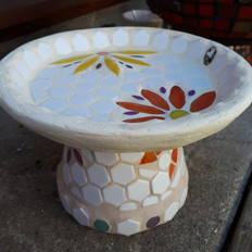 Flower mosaic birdbath - Sold