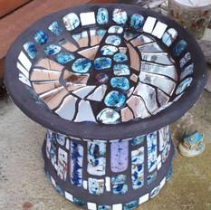 Blue and black mirror birdbath - Sold