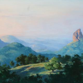 Day begins, Glasshouse Mountains  by John Morrison