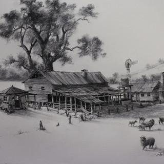 Western Shearing Shed & Quarters  by John Morrison
