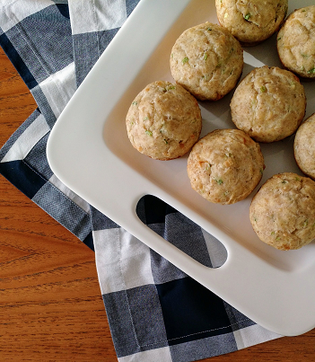 whole-wheat cheddar cheese muffins with green onions