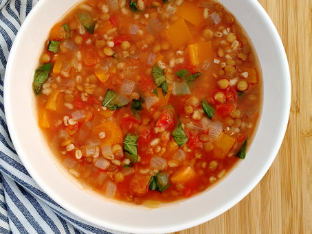 Late Summer Lentil and Barley Soup