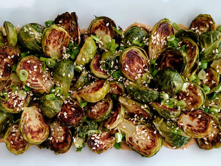 Roasted Brussels Sprouts with Miso-Tahini Sauce
