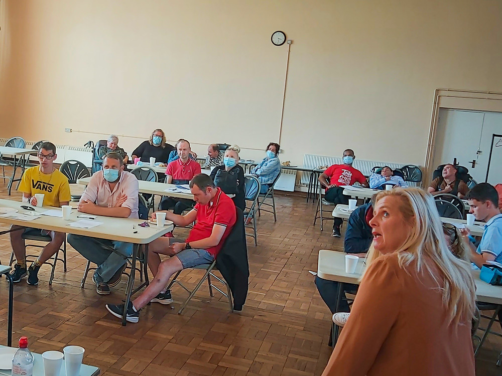 Donna presenting to tenants in Cardiff