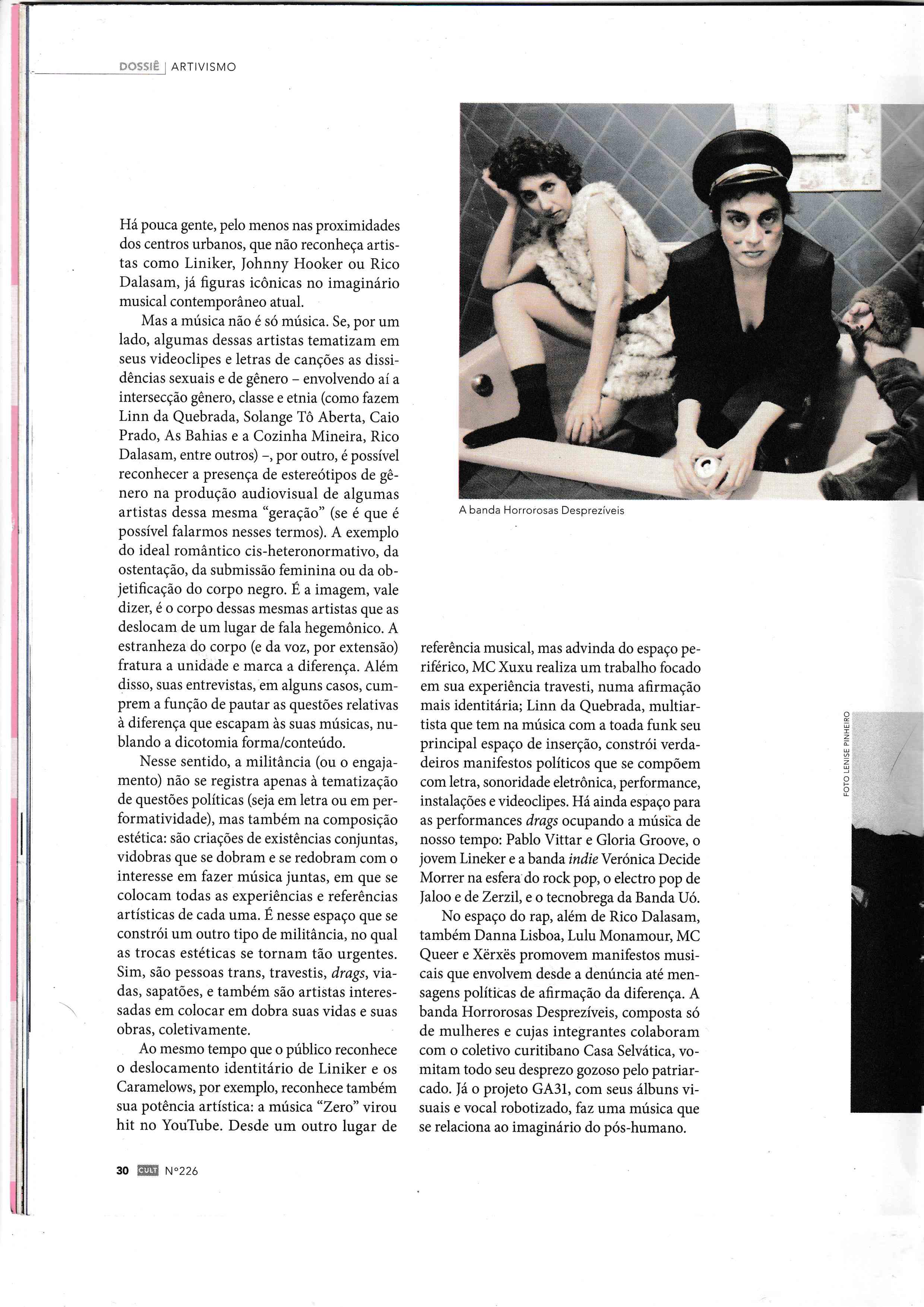Hororrosas Desprezíveis na Revista Cult - 2017