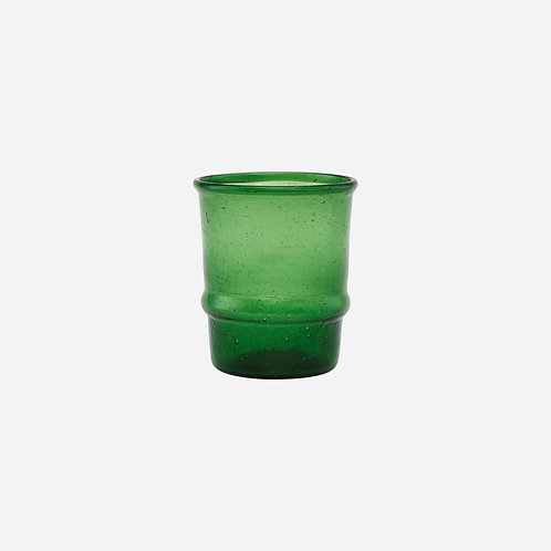 dark green glass tumbler