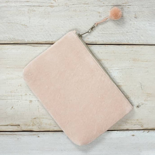 velvet clutch with pompom
