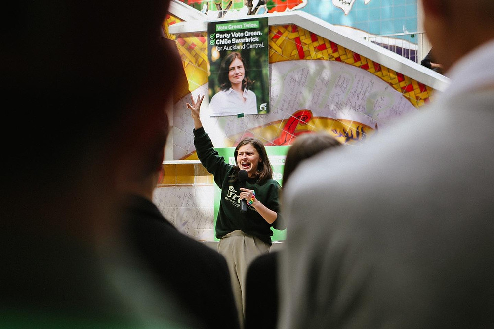 Green Party MP Chlöe Swarbrick addressing a crowd at Khartoum Place, Auckland