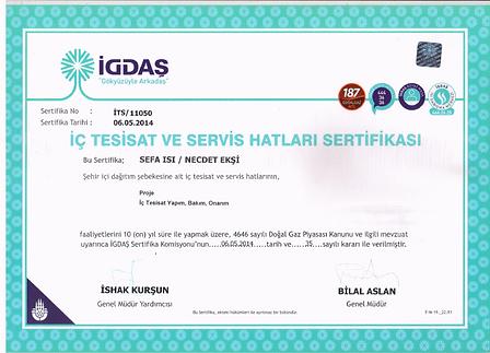igdaş iç tesisat yetki sertifikası