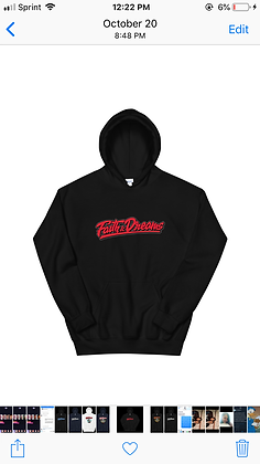 Faith and dreams signature black and red hoodie