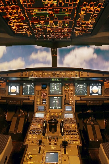 The cockpit of an airplane