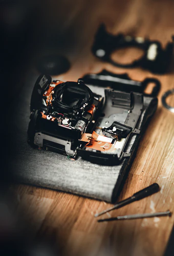 A camera undergoing repair work