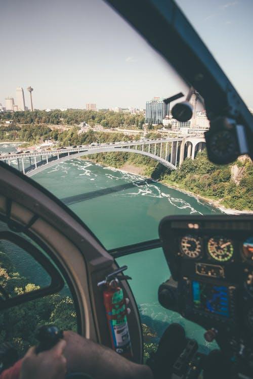 aviation camera captures aerial view of a bridge