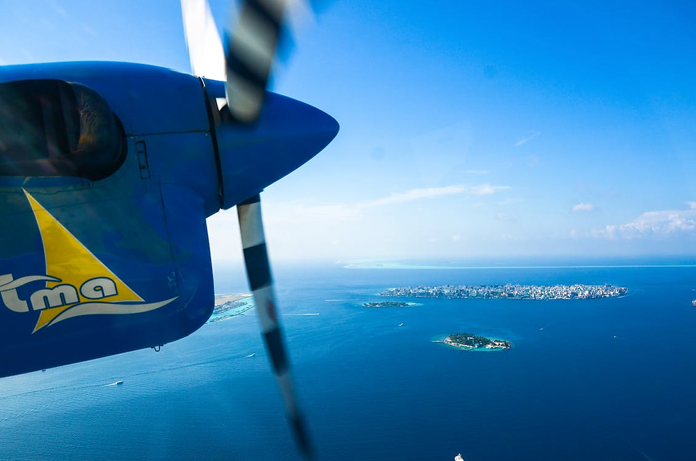 The view from an aviation camera placed on a seaplane