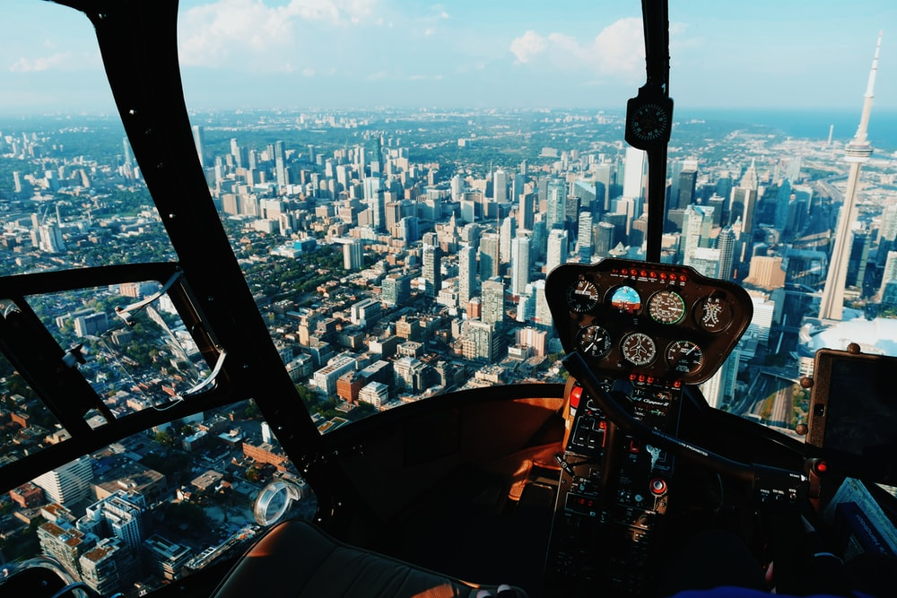 An HD cam mounted inside the cockpit of a helicopter.