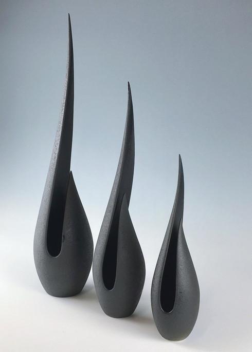 Tall, Medium & Short Black Flame vessels