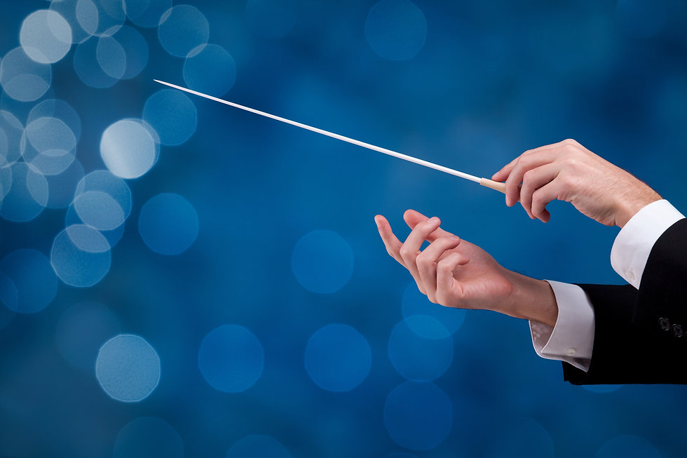 Male orchestra conductor hands with gest