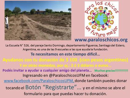 2020 Mayo, Escuela N° 526, del paraje Santo Domingo.