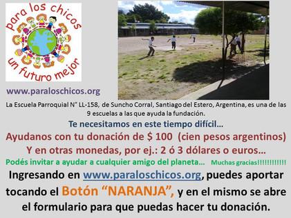 2020 Mayo, Escuela N° LL-158, Parroquial de Suncho Corral.