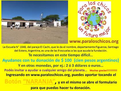 2020 Abril, Escuela N° 1048, El Cachi.