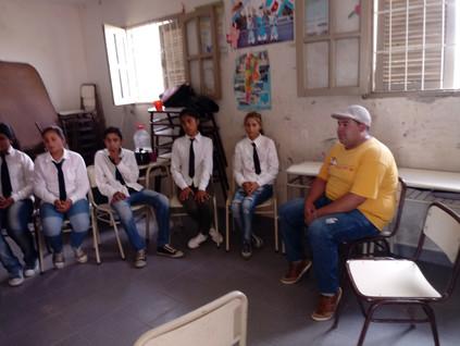 2018 Octubre, en el Secundario de Barrialito con las Rotantes de la UBA.