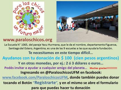 2020 Abril, Escuela N° 1065, Yacu Hurmana.
