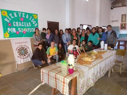 2019 Mayo, en el colegio parroquial de Suncho Corral, con Germán Muller, presidente de la fundación.