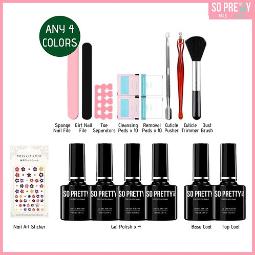 15-Piece Gel Manicure Kit (Any 4 Colors)