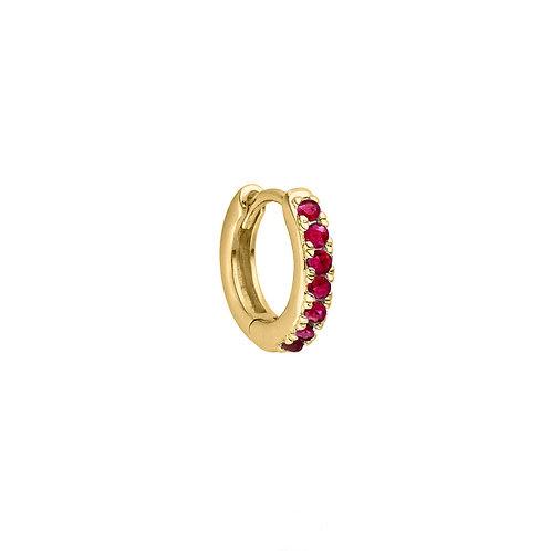 Gold Vermeil 10mm Ruby Huggies Hoop Earring