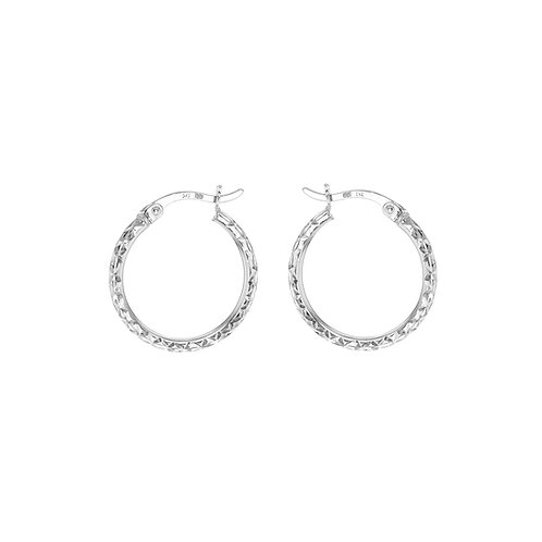 18ct White Gold Luxury Diamond Cut 18mm Hoops