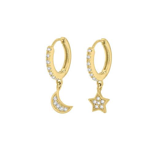 Gold Vermeil Stone Set Star and Moon Hoop Earrings