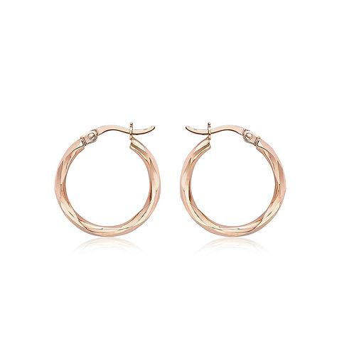 9ct Rose Gold Faceted Hoop Earrings