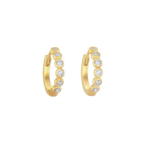 Gold Vermeil 14mm Rubover Six Stone Huggies