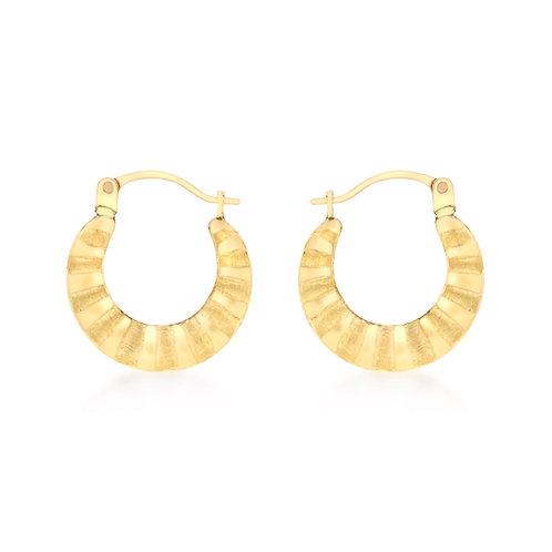 9ct Yellow Gold 15mm Design Hoop Earrings