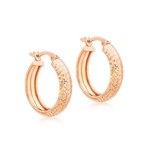 9ct Rose Gold Diamond Cut 4.5mm Wide Hoop Earrings
