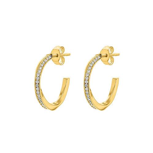 Gold Vermeil Stone Set Twist Hoops