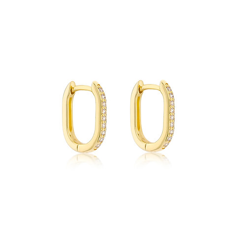 9ct Yellow Gold Estée Stone Set Luxury Huggies