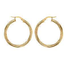9ct Yellow Gold 26mm Classic Twist Hoops