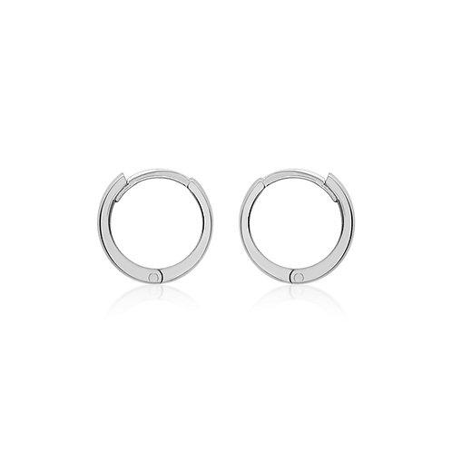 9ct White Gold 11mm Huggie Earrings